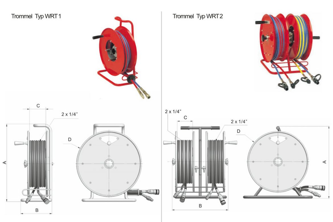 Hose reel for rescue systems serial WRT 1 / WRT 2
