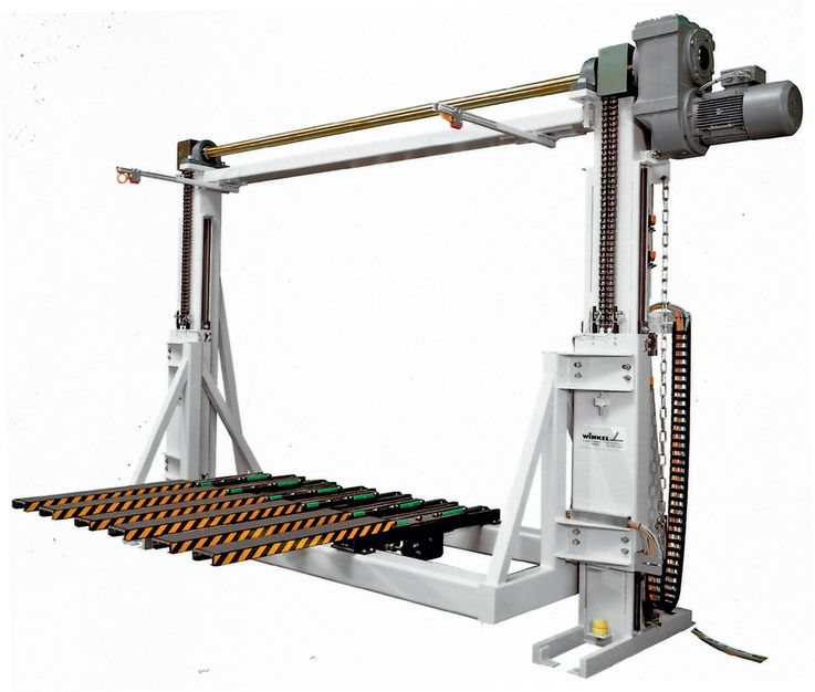 Two pillar lifting unit · synchronized with drive shaft ·  with telescopic forks.