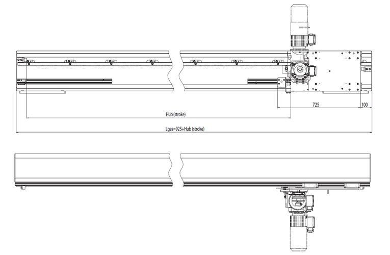 Dimensions horizontal axis Type DLE - 400 ZS-H · rack and pinion drive for load capacity up to 800 kg.