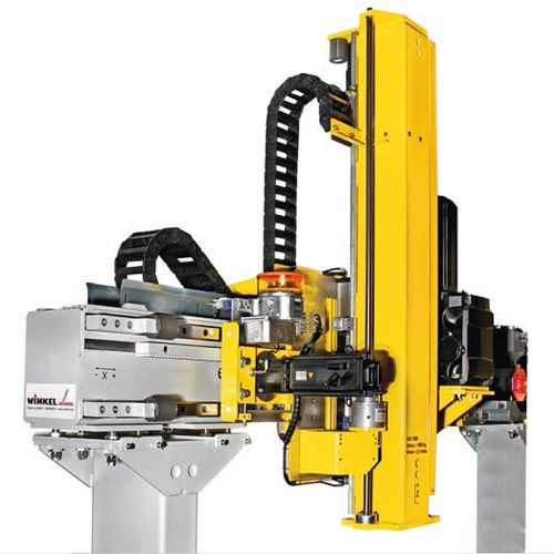 Dynamic linear-unit Type DLE with rack and pinion drive  ·  Technical characteristics : Load capacity: max. 1000 kg  ·  speed: max 5m/sec horizontal · max 2m/sec vertical  ·  repeatability : +/- 0 · 1 mm  ·  stroke: max.30m