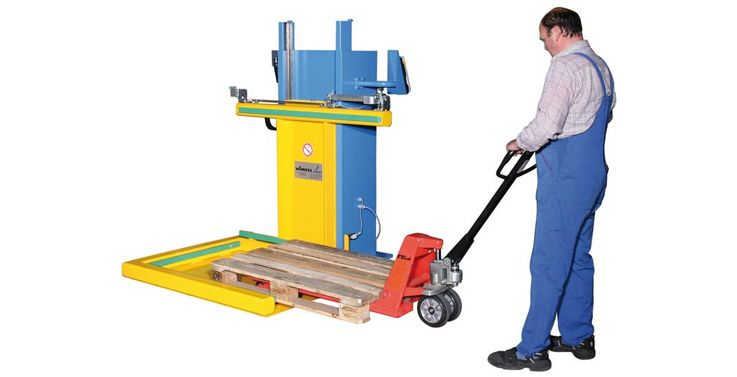 WINKEL pallet lifter PALI 20 the universal lifter with 230 V supply. Easy loading at the same level with hand pallet truck to every working place.