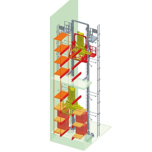 Lifting unit for shuttles into racks ·   load capacity up to 3.500 kg ·  vertical lift of the shuttles into 11 levels ·   vertical stroke up to 40.000 mm ·  lifting speed 1.7 m/sec