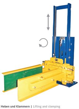 Lifts with counter weight and combined bearings in polyamid version on request · Special versions with attachments on request (clamping ·  turning ...).