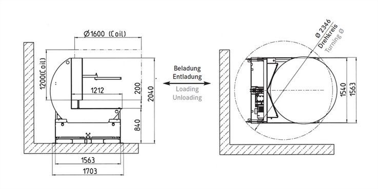 Coil turning units · Typ C 5 WD Load capacity: 5 · 000 kg Space needed: 2 · 370 mm Coil Ø: 1 · 600 mm Coil length: 1 · 200 mm