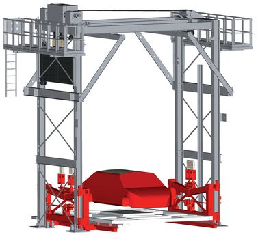 Four pillar car body lifter ·with VULKOLLAN bearings twin belts ·  counter weight and locking device stand-by drive and maintenance platform.