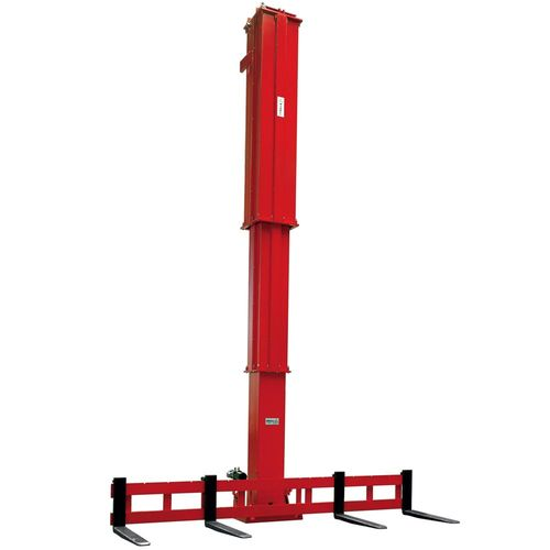 Vertical telescope  ·  load capacity 1.5 t x 1000 mm LC · stroke 4100 mm · with fork tilting +5°/-1° hydraulically · use on indoor cranes