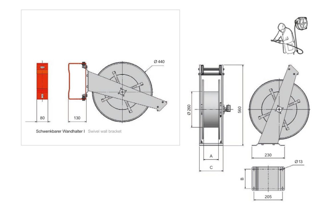 Single port hose reel serial 9000