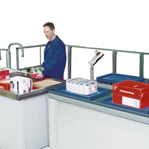Innovative commissioning system for pallets ·  manual or automatic commissioning on pallets.  Load will be secured and packed with a plastic wrapping unit for transport lowering and further transport