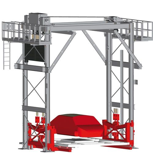 Four pillar car body lifter with VULKOLLAN bearings · twin belts · counter weight and locking device · stand-by drive and maintenance platform