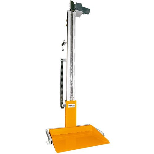 Energy efficient pallet lifter · with counter weight lower energy cost ·  smaller drive components maintenance free.