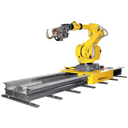 Robot tracks  ·  Type RLE – 1500F · Weight of robot (kg) max 1500  ·  upright position : yes  ·  hanging position : yes  ·  Drive : rack and pinion  ·  Linear guide : LM guide