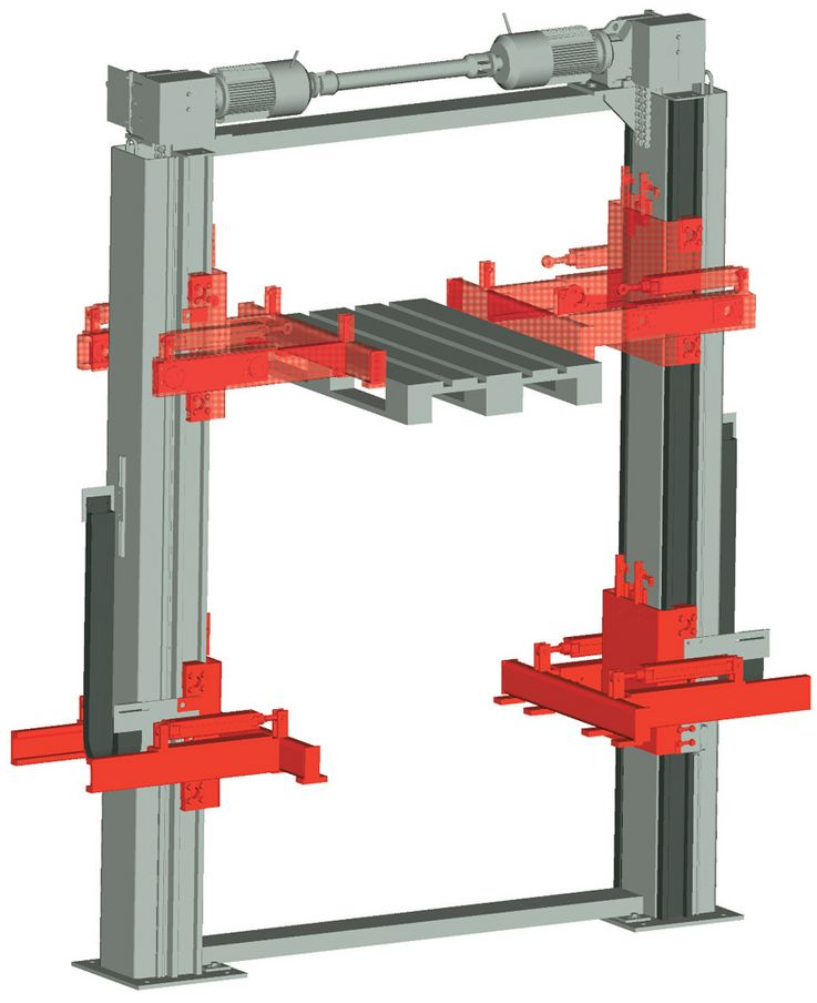 Two pillar lifting unit · synchronized ·  motor in top position ·  horizontal pick up forks.