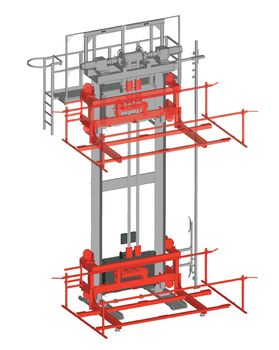 Car body lifter · two-pillar-lifter with VULKOLLAN bearings ·  twin belts ·  counter weight and locking device ·  stand-by drive and maintenance platform.