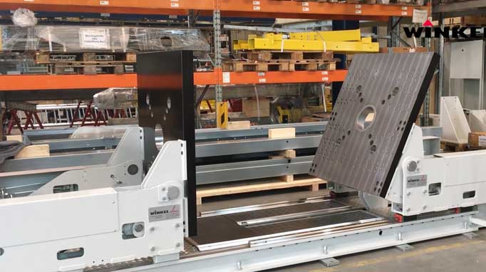 Innovative commissioning system for pallets, manual or automatic commissioning on pallets, load will be secured and packed with 					a plastic wrapping unit for transport, lowering and further transport