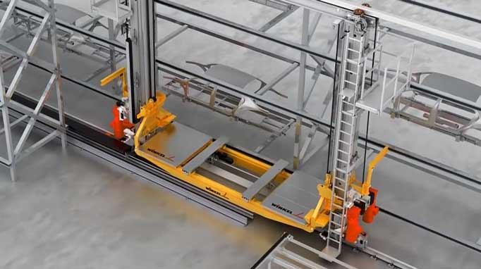 WINKEL 2 pillar storage and retrieval machine - horizontal speed up to 4 m/s, telescopic forks 2.4 meter stroke, load capacity up to 3.000kg, lift height up to 20 meter, belt lifter high dynamic 2 m/s.