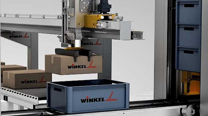 WINKEL box stacker BXS - conveyor speed 1 m/s, for full and empty boxes, capacity 600 boxes/hr, different box types.