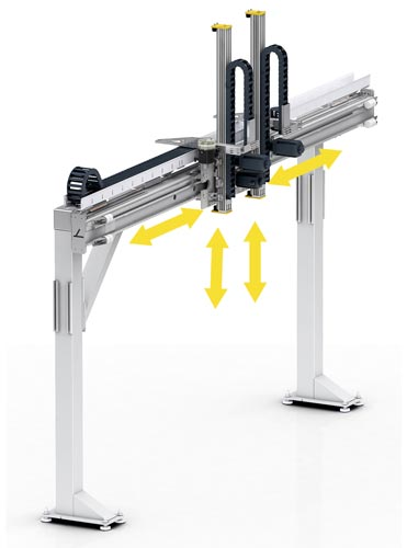 DLE 2x I-Loader. Single moving trolleys. Several trolleys on a horizontal axis are possible.