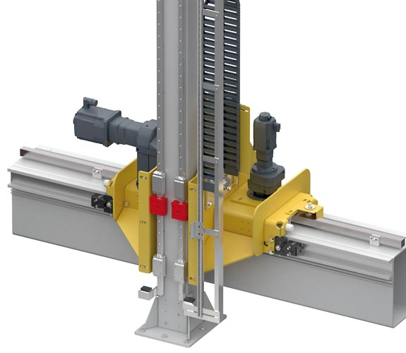 Clamping elements for guide rails. High holding force, for all guide rail sizes, for safety during power failure and during maintenance