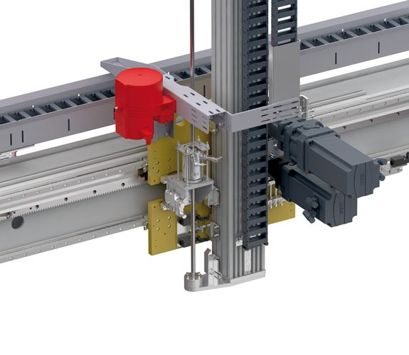 Central lubrication system. Central lubrication unit, 3 liters volume, For fluid grease, For bearings, guides, rack bars, Control via PLC provided by the customer, With hoses to the lubrication points