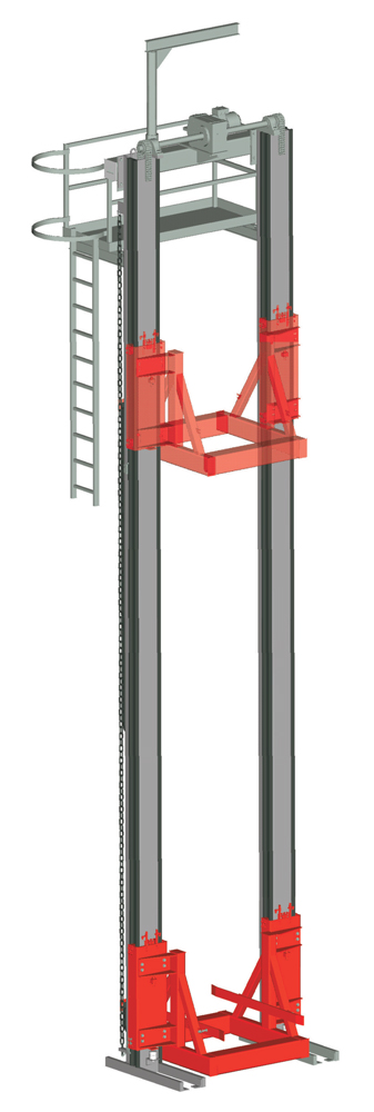 Two pillar lifting unit · with load frame ·  with maintenance platform.