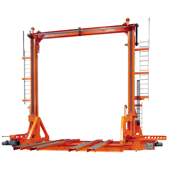 SR Storage and retrieval machinesautomotive industry · load capacity 1 t ·  vertical stroke 5 · 000 mm ·  horizontal stroke 50 · 000 mm with telescopic forks.