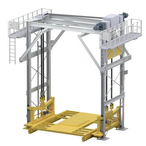 4 pillar lifter with belt  ·  motor position top