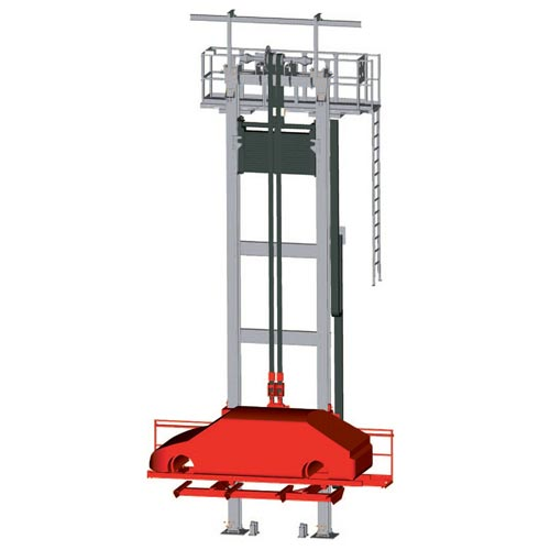 WINKEL Automotive lifter with VULKOLLAN® bearings ·  twin belt ·  counter weight and locking device. Stand-by drive and maintenance platform.